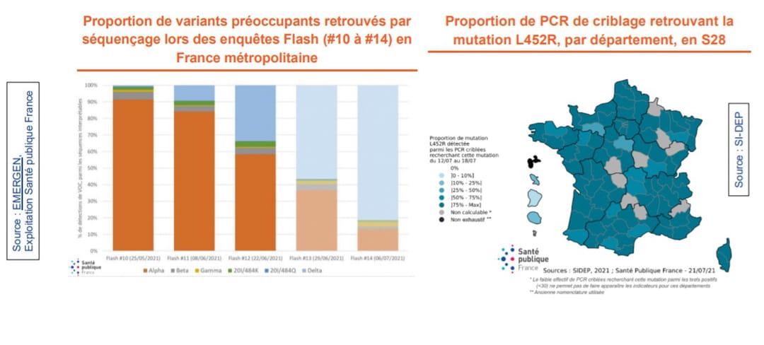 Carte du variant delta en France