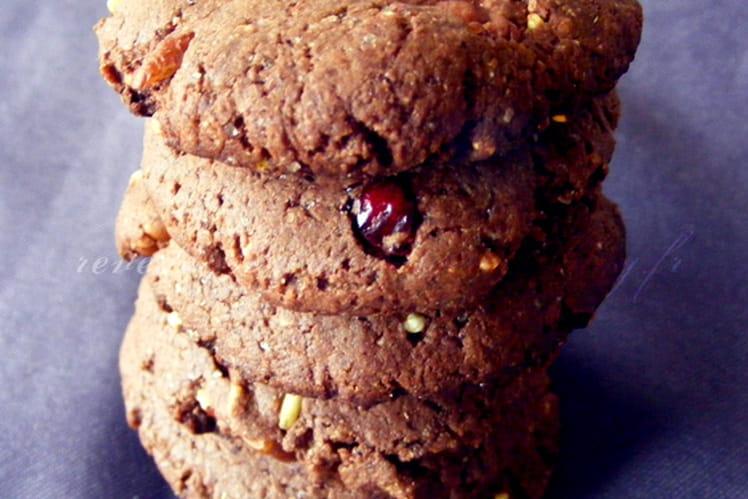 Cookies cacao, cranberries, noix de pécan, quinoa