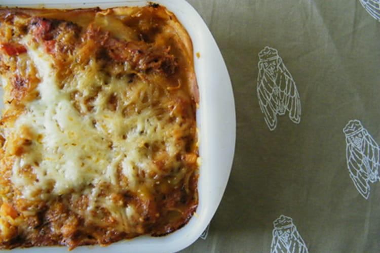 Lasagnes aux petits légumes et rillettes de poulet
