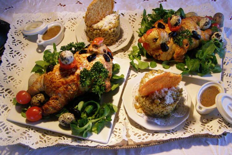 Cailles en croûte farcies au foie gras