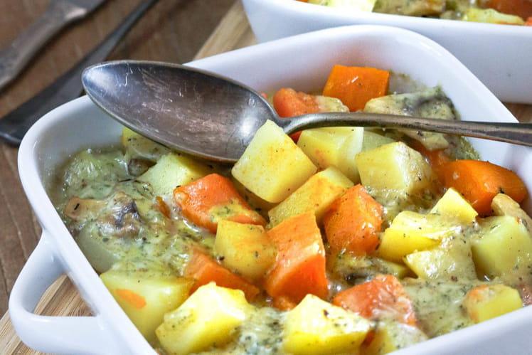 Gratin de patate douce et pommes de terre au fromage Stilton