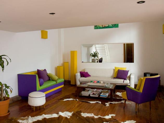 Salon coloré et vintage