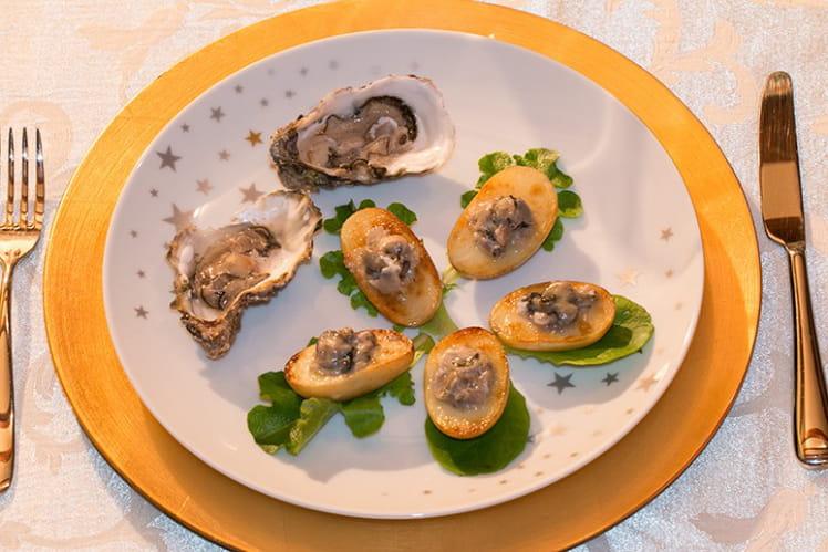 Tartare d'huîtres à la crème d'artichaut aux Truffes en nids de Princesse Charlotte
