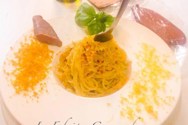 Spaghetti à la poutargue et zestes de citron