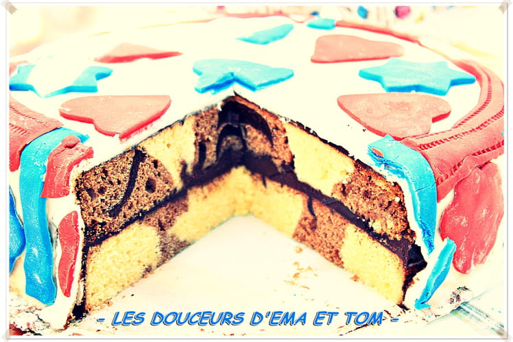 Gâteau damier thème France