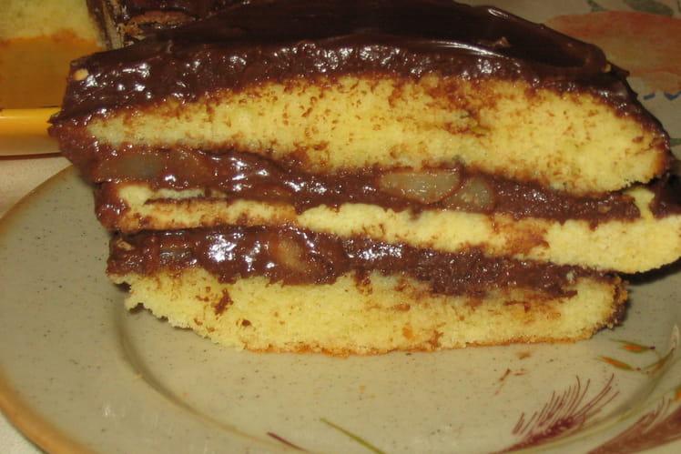 Gâteau ganache chocolat et poires