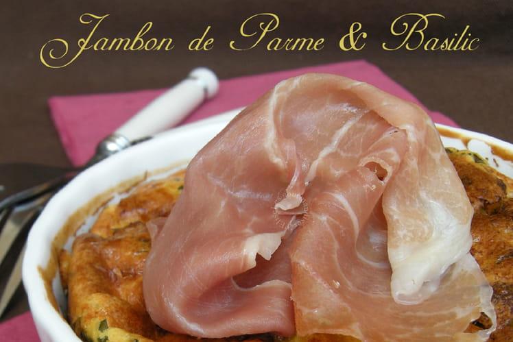 Clafoutis au jambon de Parme et basilic