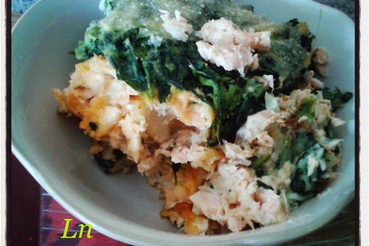 Parmentier de saumon et cabillaud à la florentine