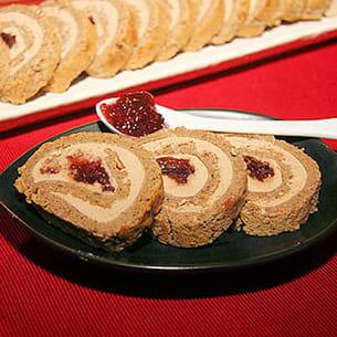 pain d'épices roulé au foie gras, confiture de figues