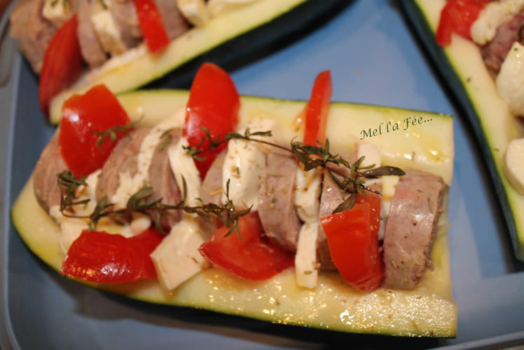 Courgette farcie à la Tomate, mozzarella, andouillette