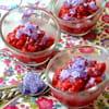kir granite vanille aux framboises et aux violettes
