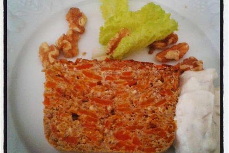 Terrine de carottes et potimarron aux noisettes, chantilly fromage frais aux noix