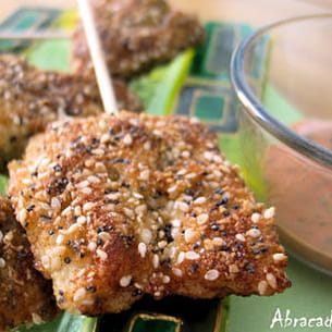 croquettes de poulet amandes, sésame et pavot bleu