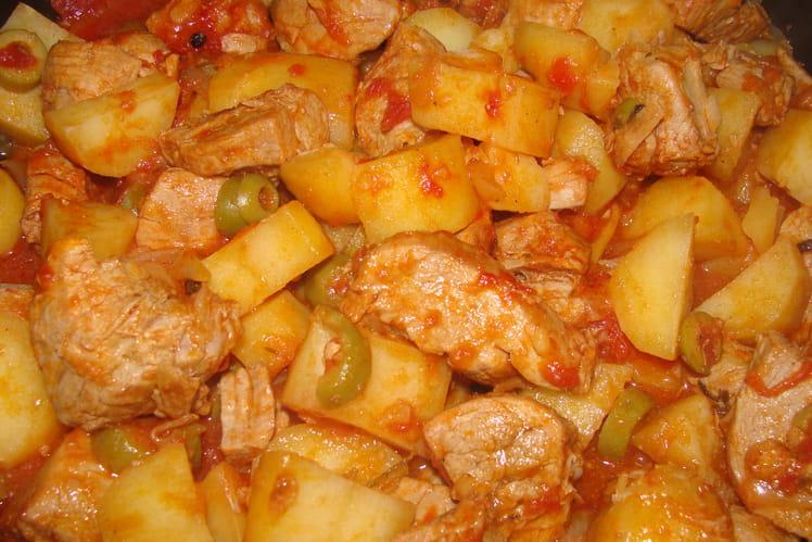 Sauté de porc aux tomates et olives