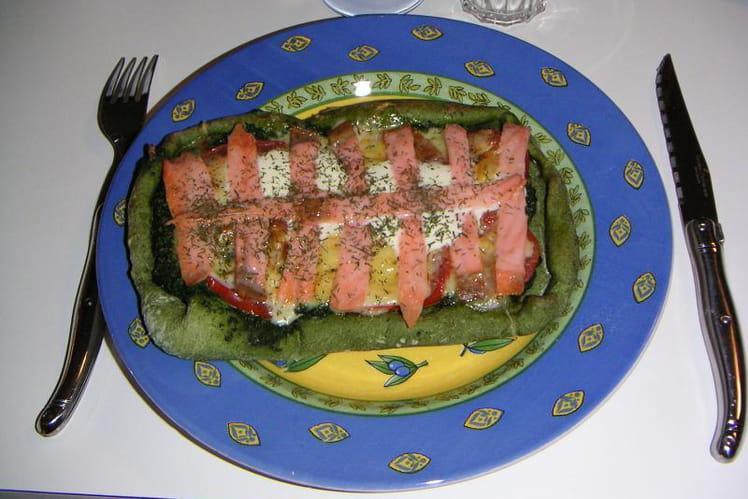 Petite pizza en vert et rose