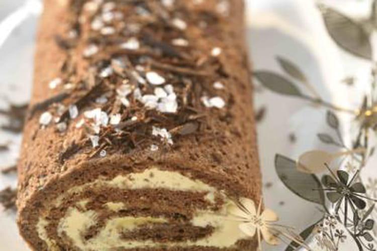 Bûche chocolat et caramel au beurre salé