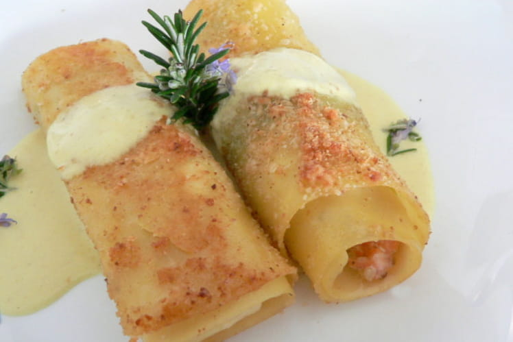 Cannelloni au saumon, sauce au curry