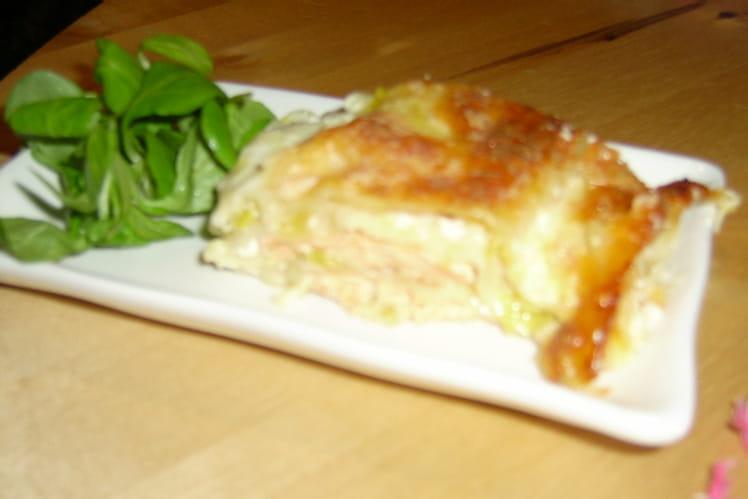 Lasagnes de saumon, poireaux et mozzarella