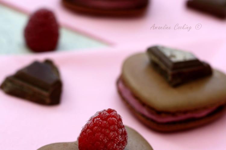 Macarons au chocolat et ganache montée à la framboise