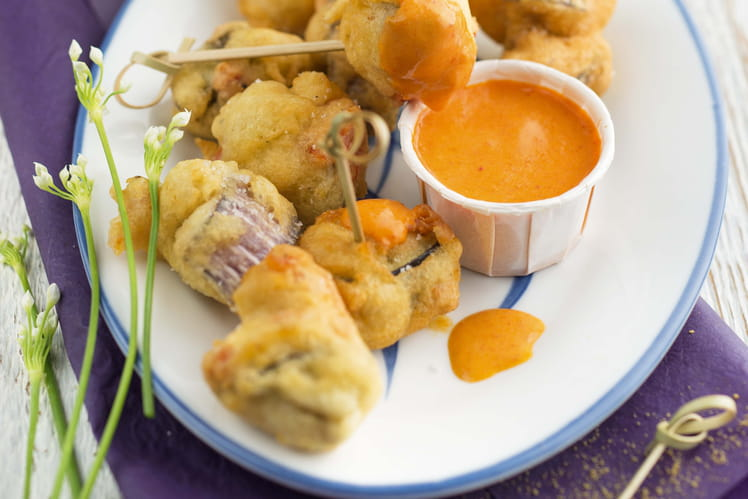 Beignets d'aubergines et sa crème tomate épicée