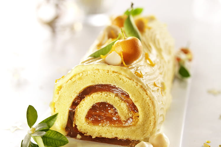 Buche de Noël à la mandarine et noix de Macadamia