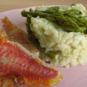 risotto aux asperges et ses petits filets de rouget