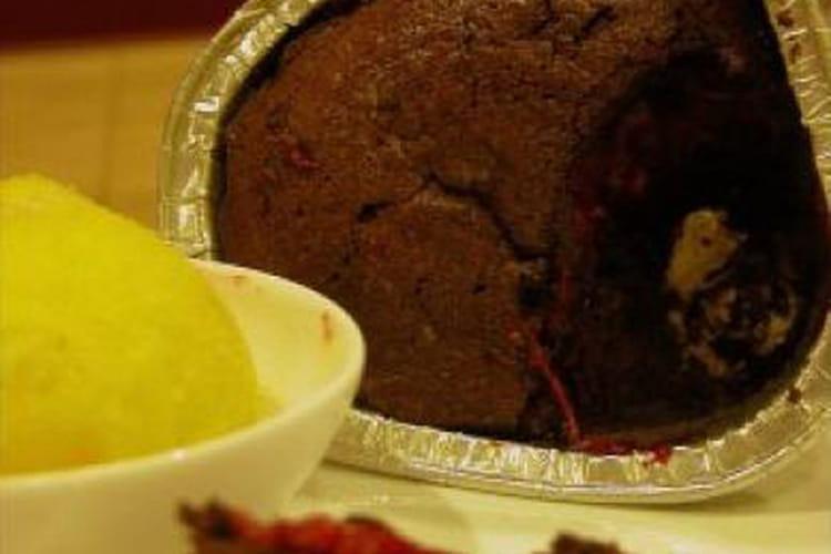 Moelleux chocolat coeur framboises passion
