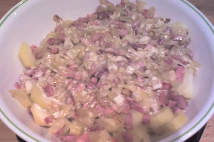 Pommes de terre à la moutarde et aux lardons