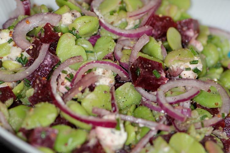 Salade de fèves et betteraves rouges