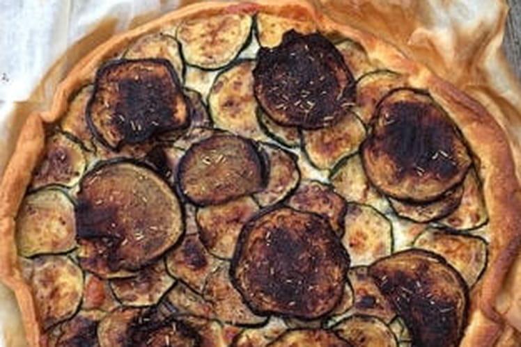 Tarte salée mozzarella, aubergine et courgette
