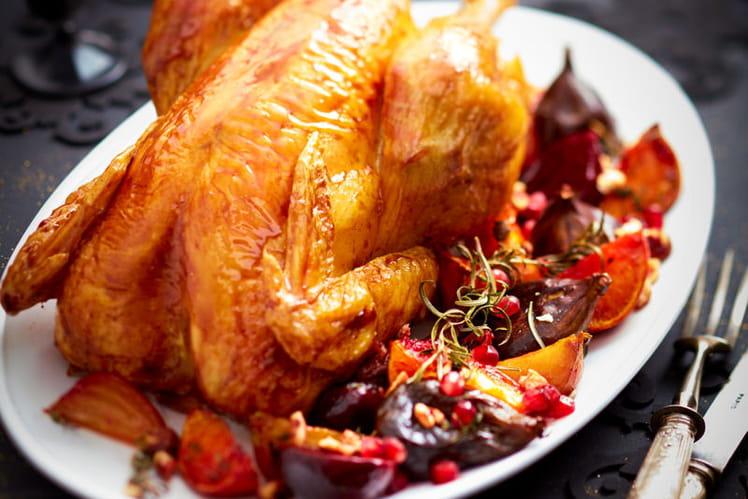 Chapon rôti au vinaigre balsamique, figue et betterave rôtis au sirop de grenadine