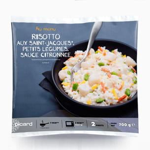 risotto aux saint-jacques, petits légumes de picard