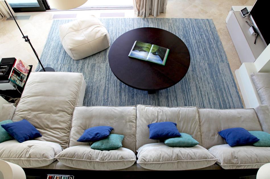 Salon d'architecte bleu charron