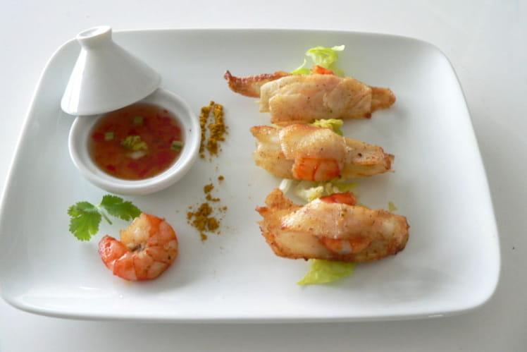 Baluchons de crevettes au petit taro