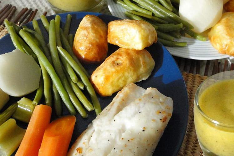 Cabillaud aux légumes d'hiver sur sabayon d'estragon