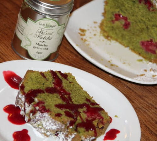 Recette Cake The Vert Matcha Framboises