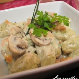 gnocchis persillés, sauce gorgonzola