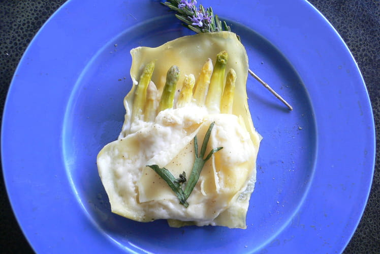Bouquet d'asperges aux lasagnes