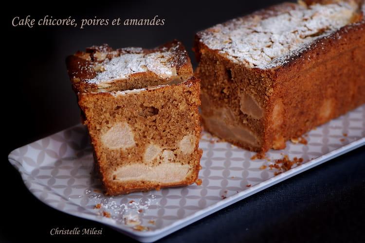 Cake chicorée, poires et amandes