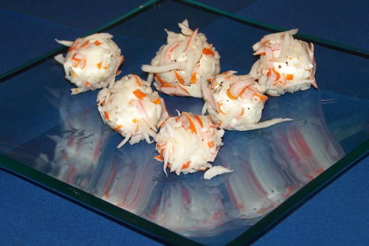 Amuse-bouches de surimi au fromage frais