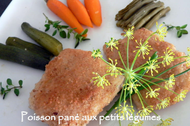 Poisson pané aux petits légumes
