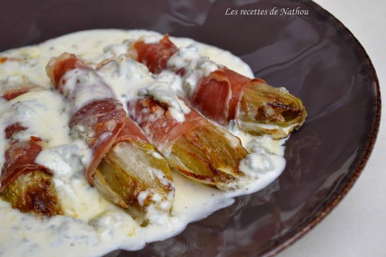 Endives braisées au jambon cru et au gorgonzola