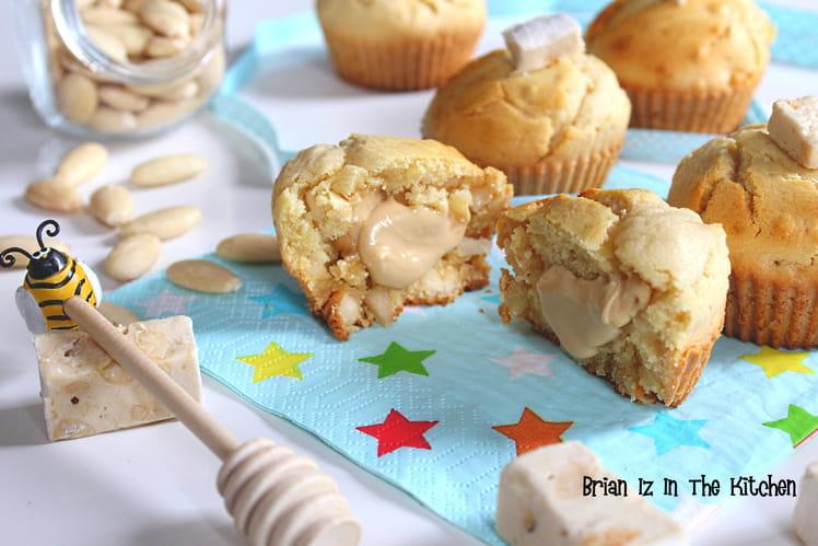 Muffins au miel et amandes, cœur fondant à la crème de nougat