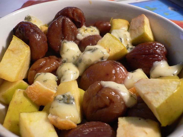 Recette de dinde aux marrons pommes et fourme d 39 ambert la recette facile - Plat facile et leger ...