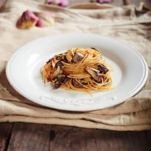 spaghetti à la poutargue et artichauts