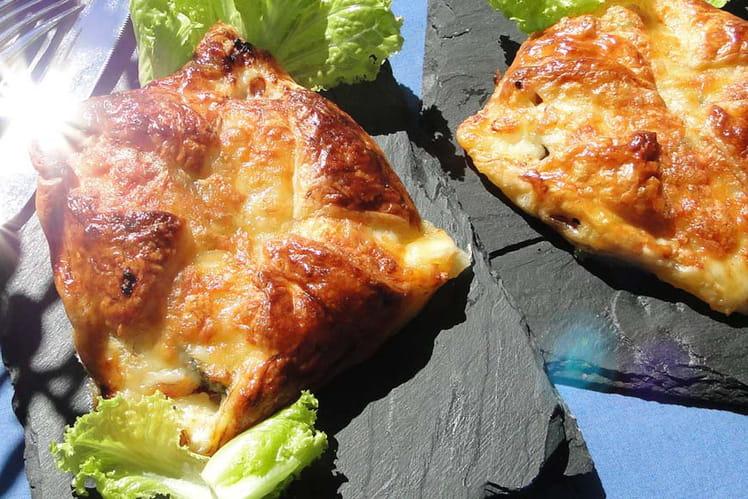 Feuilletés de courgette, champignons, mozzarella et pancetta