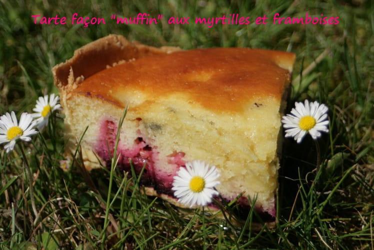 Tarte façon muffins aux myrtilles et aux framboise