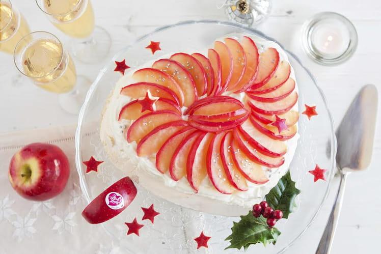 Pavlova aux pommes Pink Lady® caramélisées
