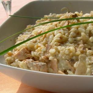 risotto au saumon, crème au parmesan