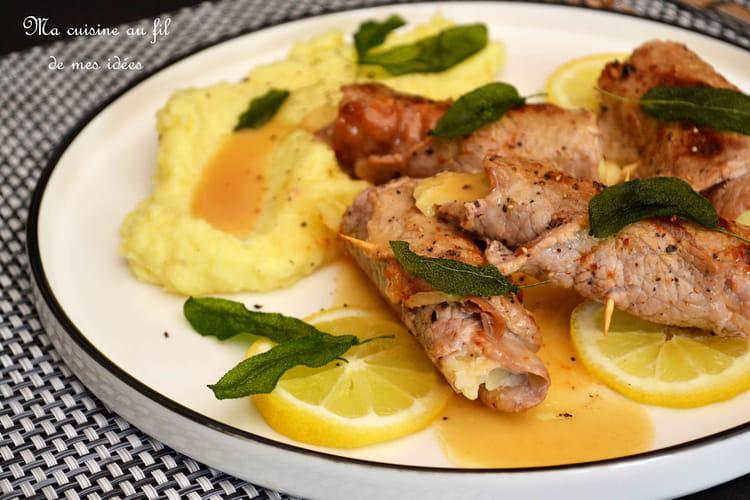 Involtinis de veau au jambon cru et mozzarella, sauce au citron et sauge frite